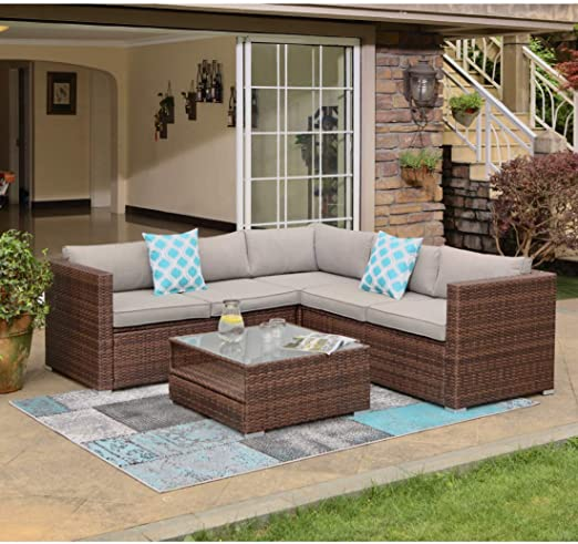 Amazon Com Cosiest 4 Piece Outdoor Furniture Set All Weather Brown Wicker Sectional Sofa W Warm Gray Thick Cushions Glass Coffee Table 2 Teal Pattern Pillows Incl Waterproof Cover Clips Kitchen Dining