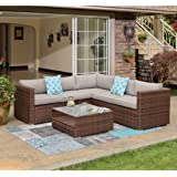 COSIEST 4-Piece Outdoor Furniture Set All-Weather Brown Wicker Sectional Sofa w Warm Gray Thick Cushions, Glass Coffee Table, 2 Teal Pattern Pillows Incl. Waterproof Cover, Clips
