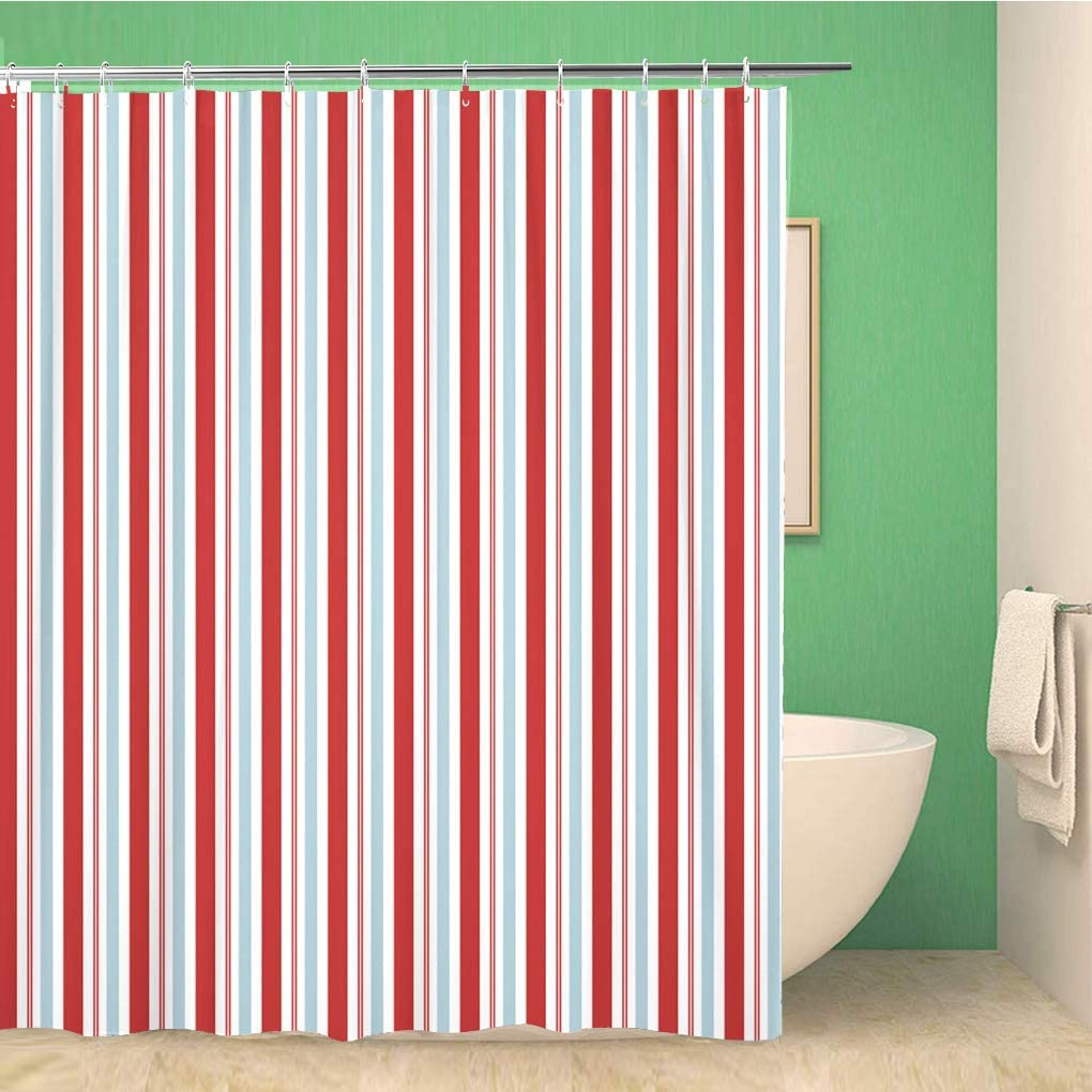 Topyee Shower Curtain Seuss Red and Blue Stripes Pattern Circus Americana 4Th 66x72 Inches Waterproof Polyester Bathroom Decor Curtain Set with Hooks