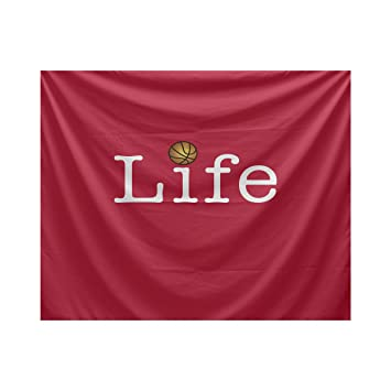 Red TYW871R1-80 E by design Life Ball Word Print Tapestry 80 x 60