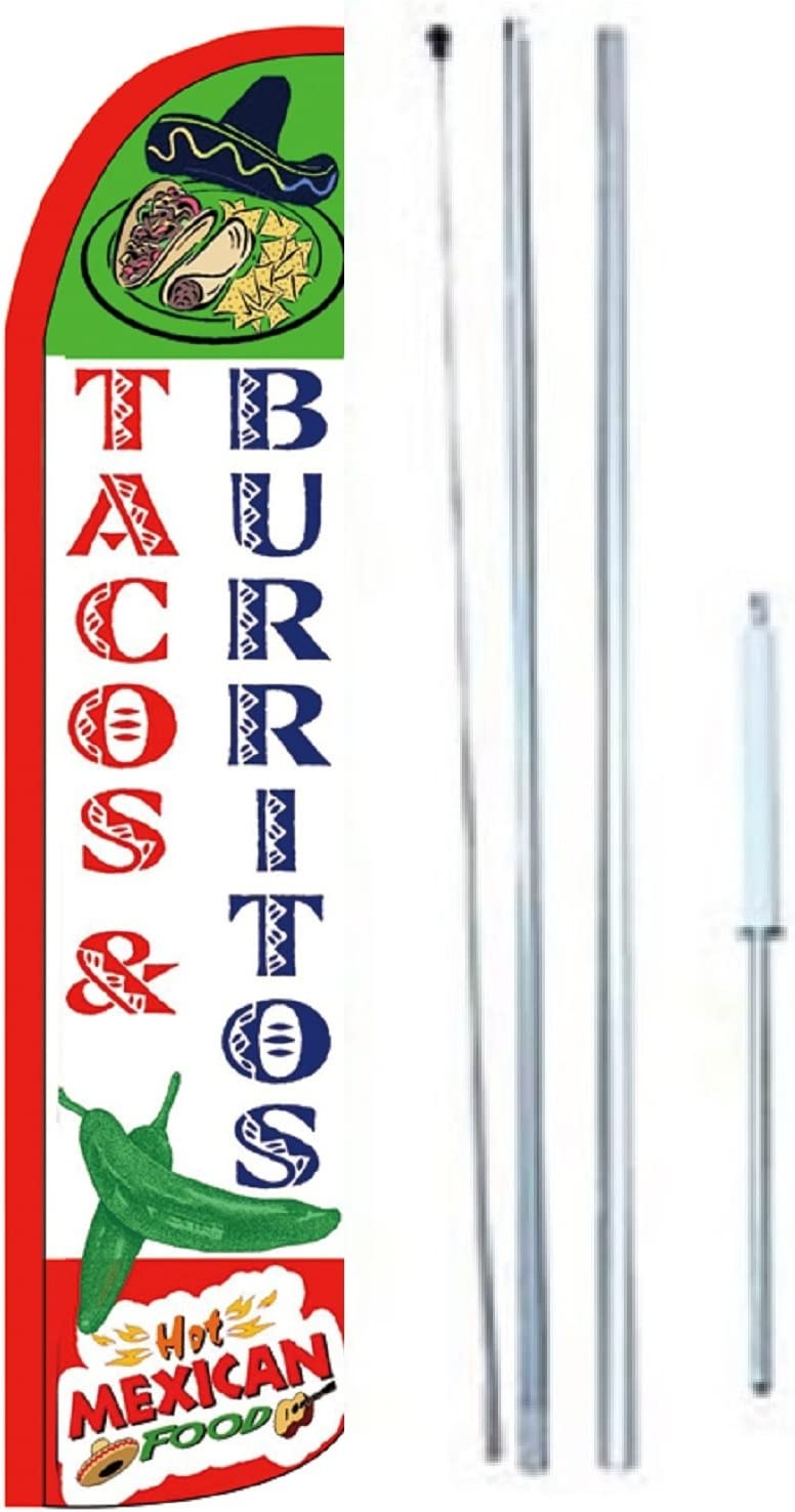 Tacos Burritos Hot Mexican Food King Windless Flag Sign With Complete Hybrid Pole set