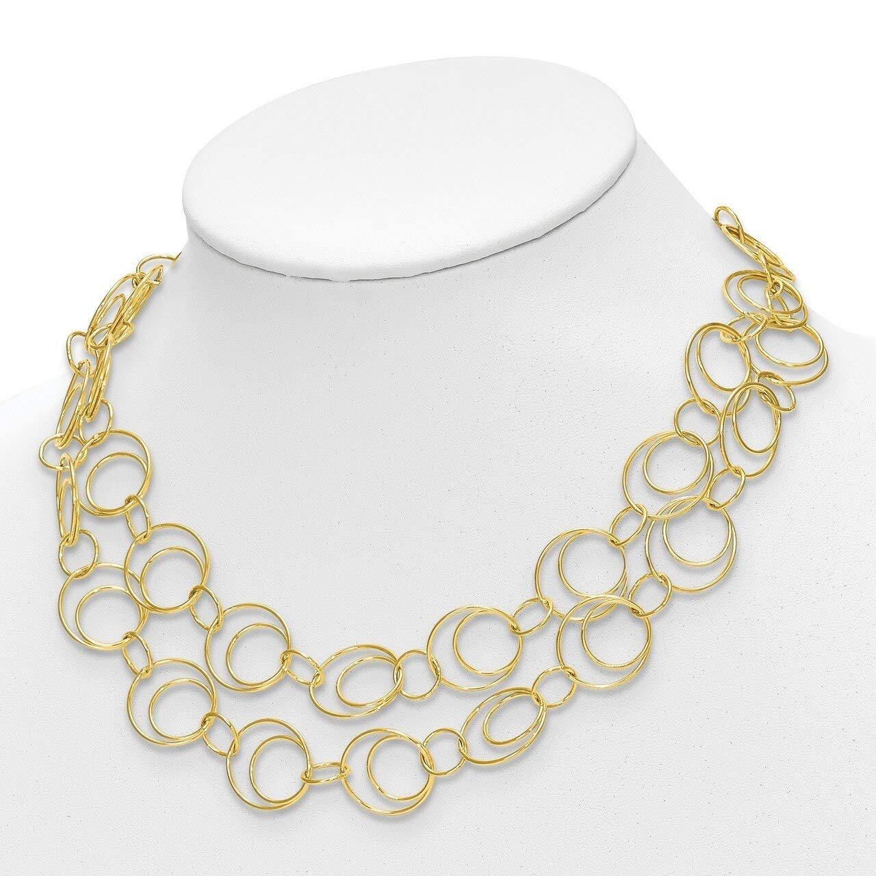 Lex /& Lu Leslies Sterling Silver Gold-tone Polished Necklace 17