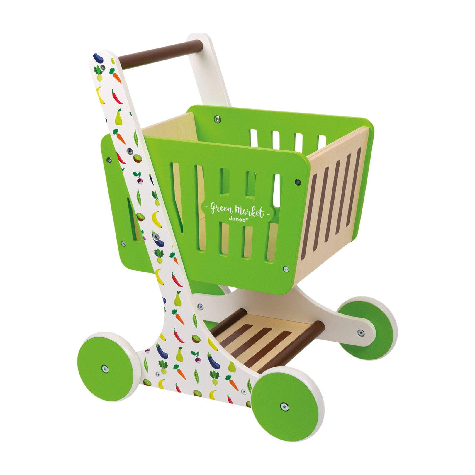 Janod Green Market Wooden Shopping Trolley with Grocery Accessories by Janod