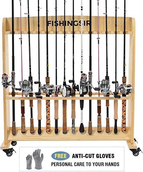 Wooden Fishing Rod Rack with Wheels ,up to 28 Pole and Reel