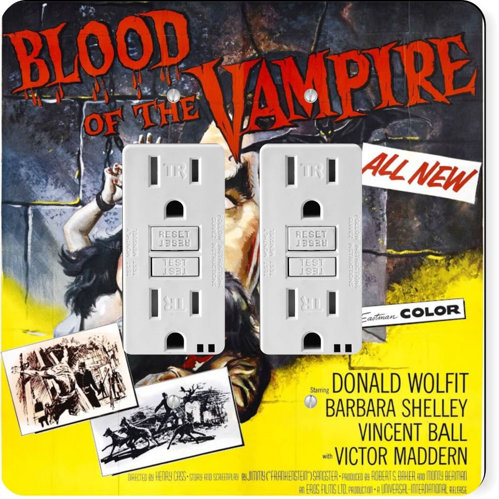 Rikki Knight 3704 Gfidouble Vintage Movie Posters Art Blood of Vampire 4 Design Light Switch Plate
