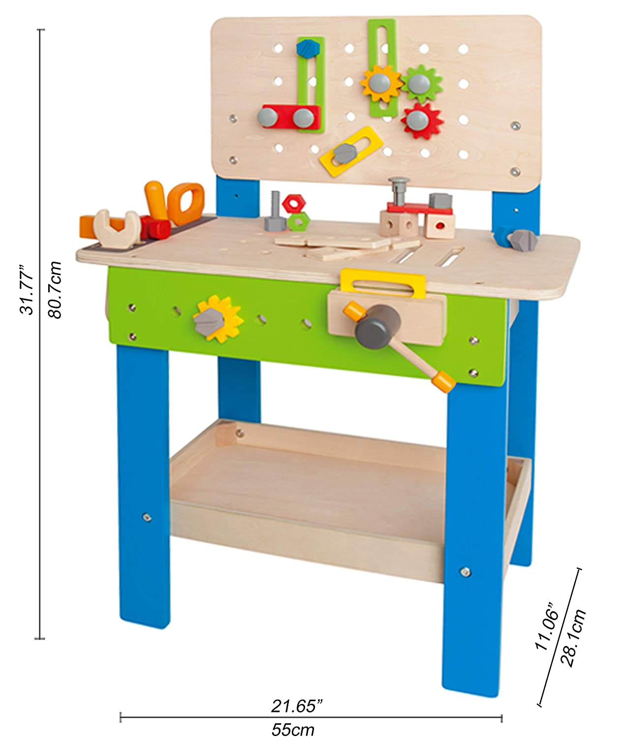 Fabulous Master Workbench By Hape Award Winning Kids Wooden Tool Bench Toy Pretend Play Creative Building Set Height Adjustable 35Piece Workshop For Pabps2019 Chair Design Images Pabps2019Com