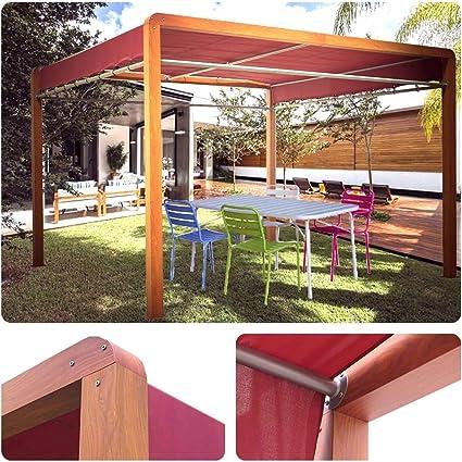 HABRITA Pérgola imitación madera estructura aluminio: Amazon.es ...