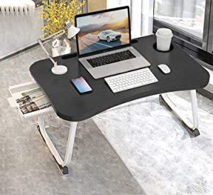 "Portable Lap Table, Lap Table with Beverage Holder, Foldable Lap Bed Tray with Storage Drawer, Floor Table Tray for Student Adult Work Online Study Home Hospital, Black Silver (23.6""x15.7""x11"")"
