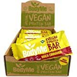BodyMe Organic Vegan Protein Bar | Raw Maca Cinnamon | 12 x 60g Vegan Protein Snack Bars | Gluten Free | 16g Complete Protein | 3 Plant Proteins | All Essential Amino Acids | High Protein Vegan Snacks