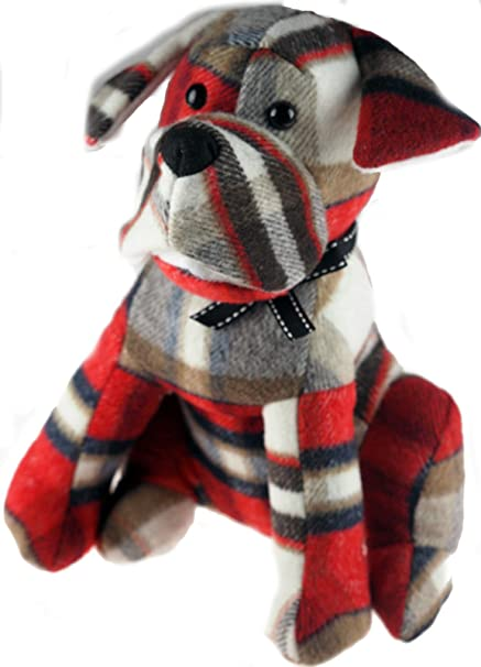 Large 30cm Tall Tartan Red Dog Door Stop Sitting Boxer Design
