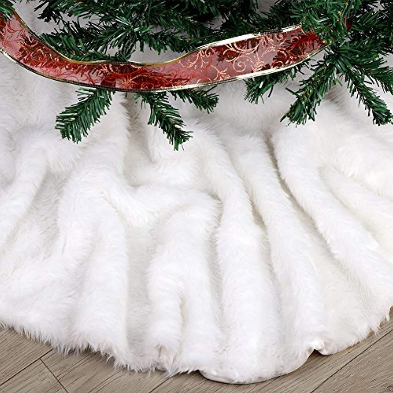 Amazoncom Fdy My Faux Fur Christmas Tree Skirt 307 Elegant Pure