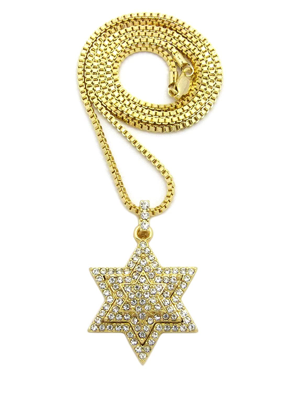 ICED OUT 6-POINTSTAR PENDANT /& 24 BOX//CUBAN//ROPE CHAIN HIP HOP NECKLACE XQP87G