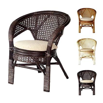 Beau Pelangi Handmade Rattan Dining Wicker Chair W/cushion, Dark Brown