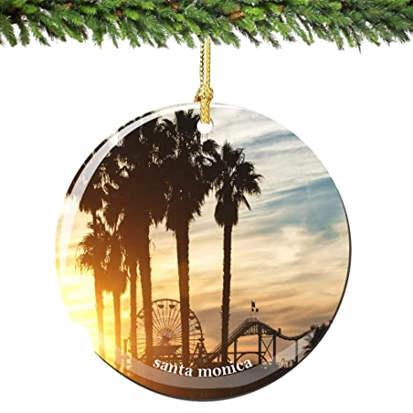 City-Souvenirs Santa Monica Christmas Ornament Porcelain 2.75 Inch Double  Sided California Christmas Ornament