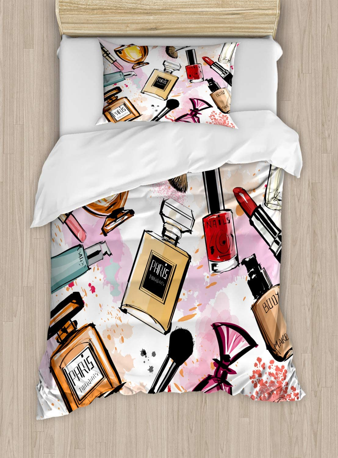Ambesonne Fashion Duvet Cover Set, Cosmetic and Makeup Theme Pattern with Perfume Lipstick Nail Polish Brush Modern, Decorative 2 Piece Bedding Set with 1 Pillow Sham, Twin Size, Coral White