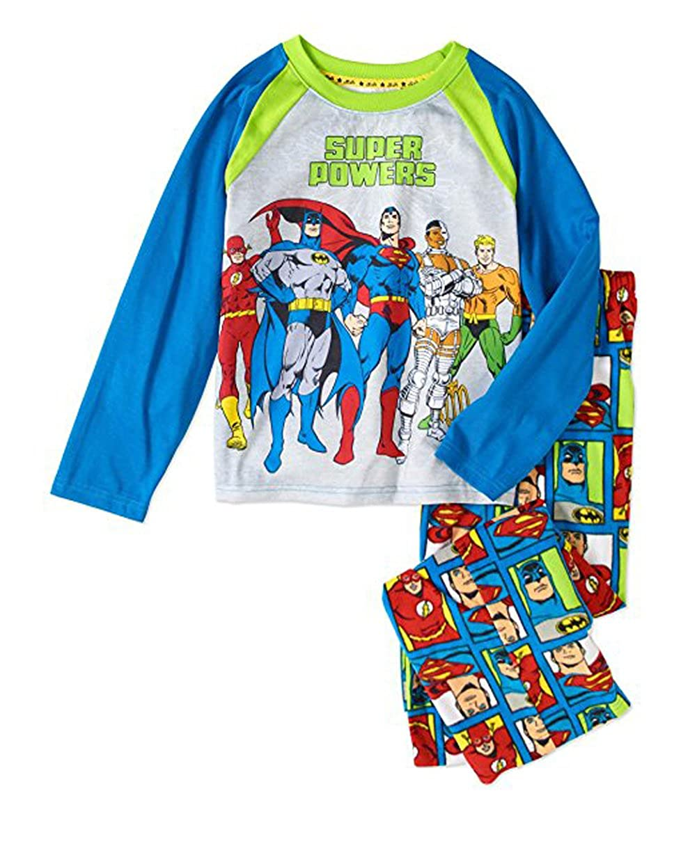Justice League Boys Super Powers Glow In The Dark Sleepwear Pajamas