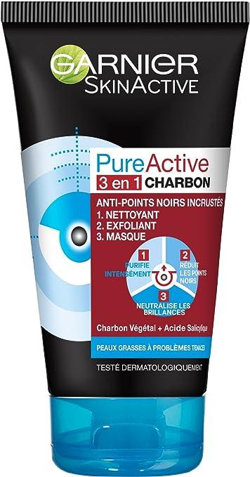 Garnier Skinactive Nettoyant 3 En 1 Charbon Anti Points Noirs Incrustés Pureactive 150 Ml Amazon Fr Beauté Et Parfum