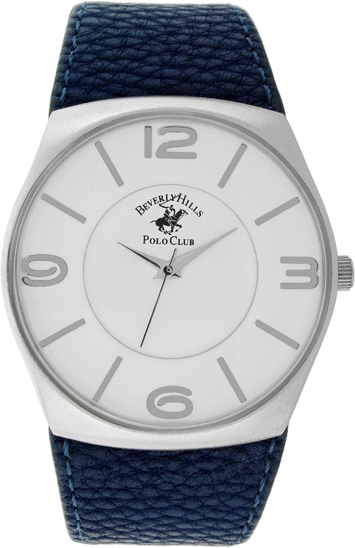 Beverly Hills Polo Club Azul Pebble Piel Reloj con Esfera Blanca ...