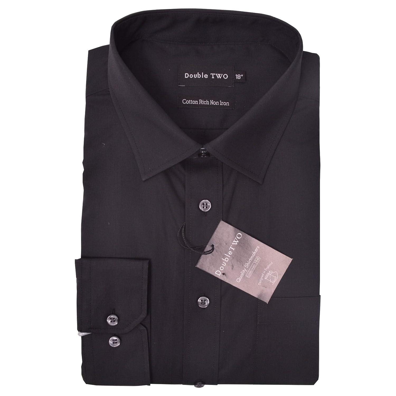 Double Two Langärmlig Bügelfrei Baumwollreich Hemden (4500) Kragen Größe 18,5 bis 23 Inch, Multi Farben Optionen