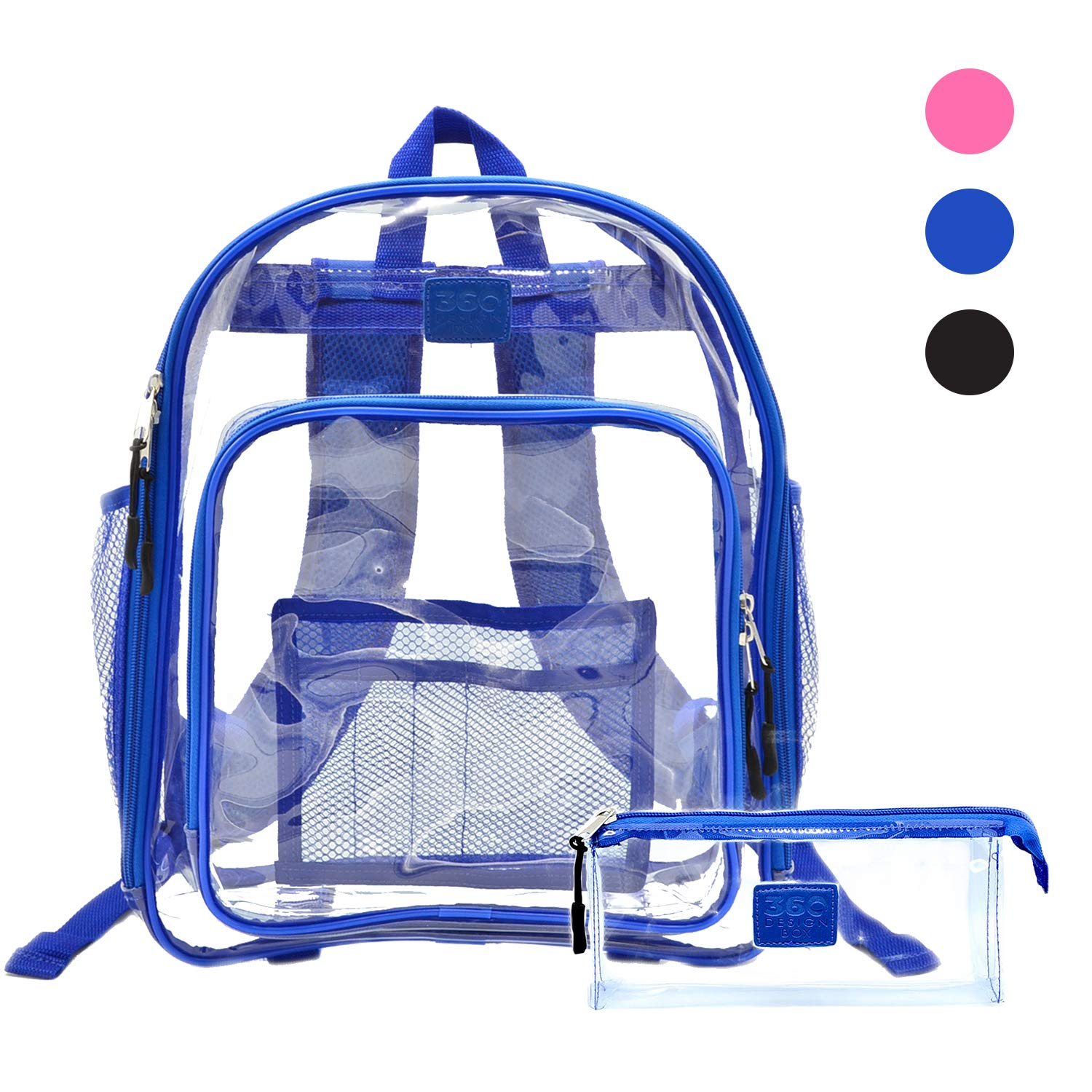 Clear School Security Backpack, Unisex Transparent Travel Work Bag, Pencil Case Included, Mesh Pockets for Water Bottles and Adjustable Padded Straps, See Through Bookbag Blue