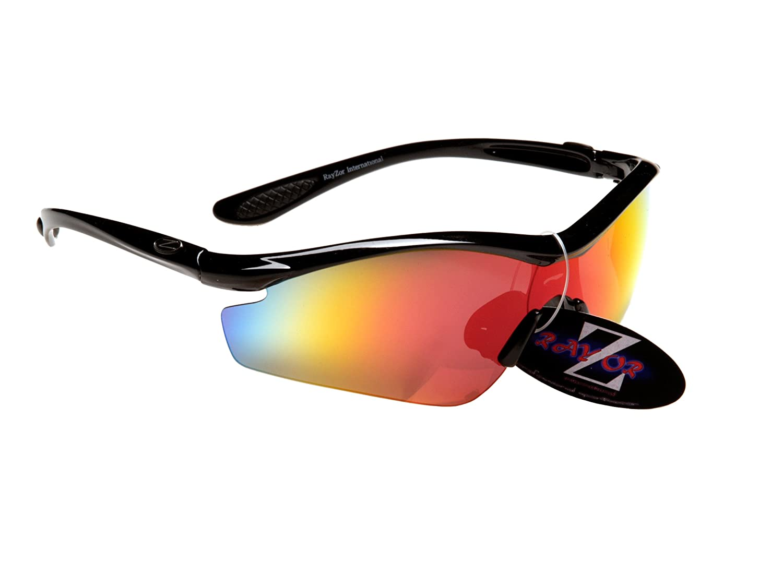 Rayzor Professionelle Leichte UV400 Schwarz Sports Wrap Schifahren Sonnenbrille, mit einem roten Iridium Mirrored Blend Lens.