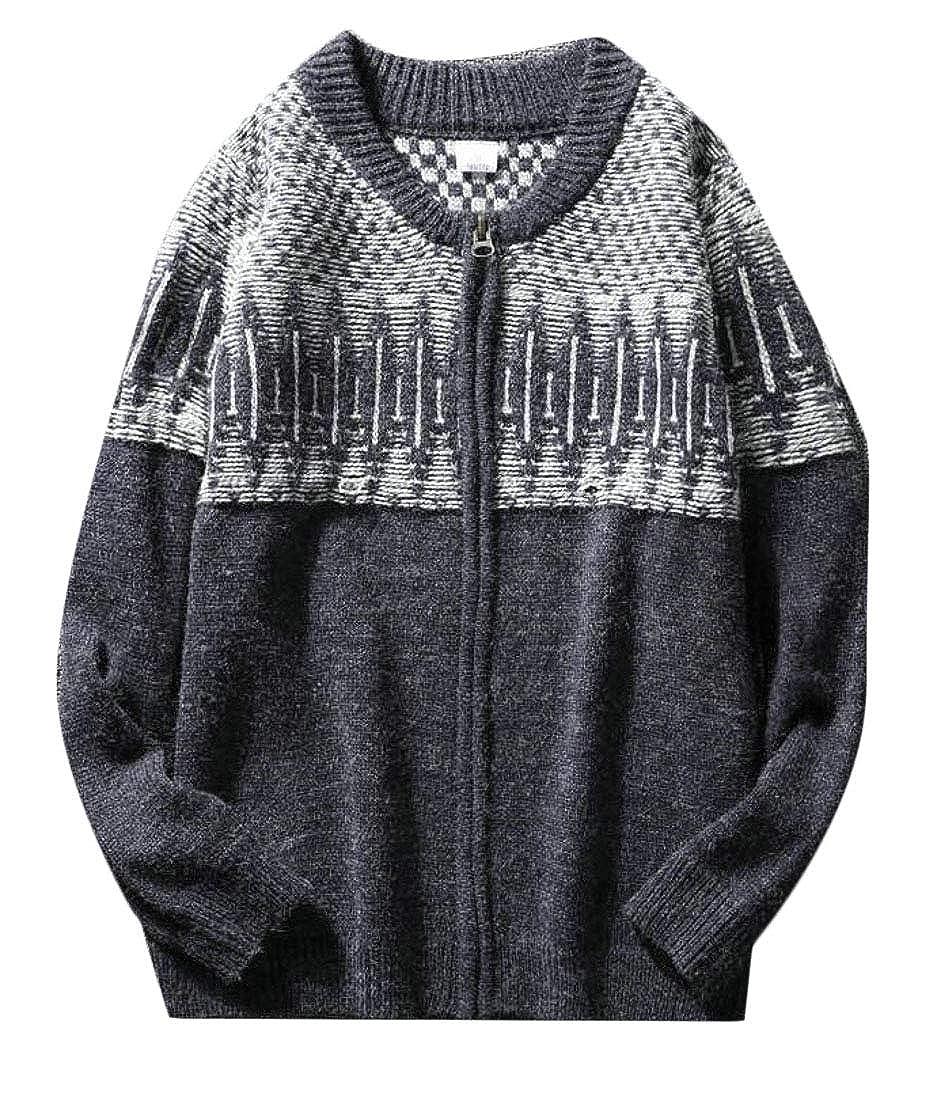 Alion Mens Long-Sleeve Pattern Knitted Full Zip Sweater Knitwear Casual Cardigan