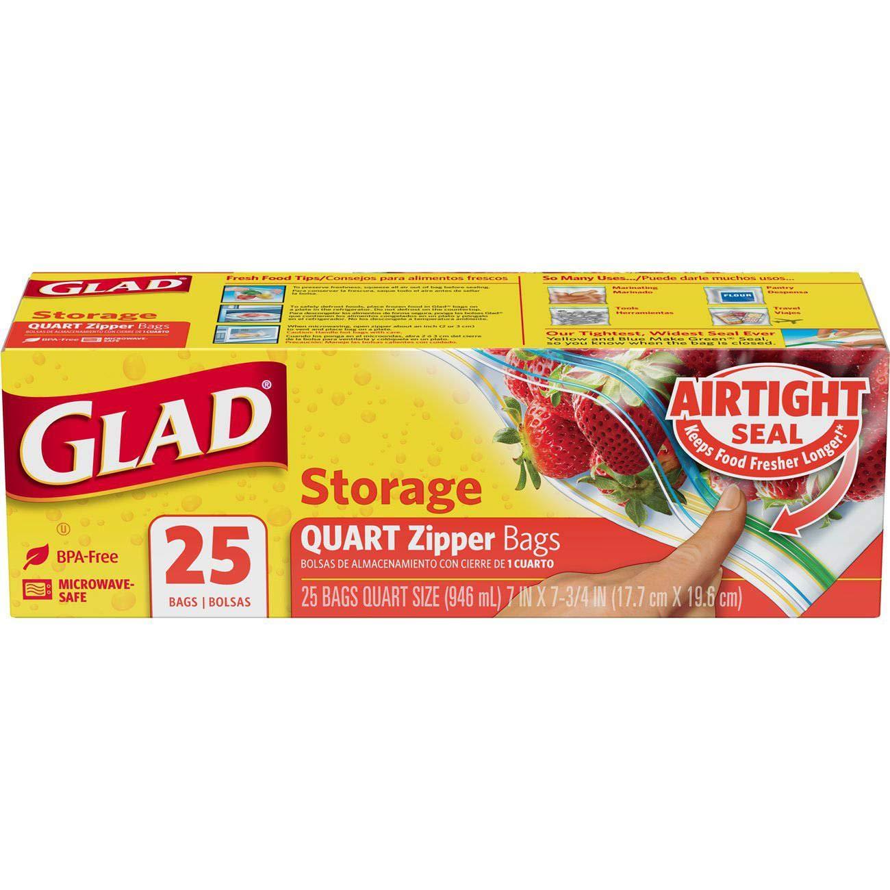 Amazon.com: Glad Zipper Quart Food Storage Bag, 25 Count ...