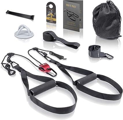 High Pulse Entrenamiento Suspension (7 piezas) – Kit fitness + polea, anclaje para puerta, fijación para pared, póster, cartel para puerta, funda y ...
