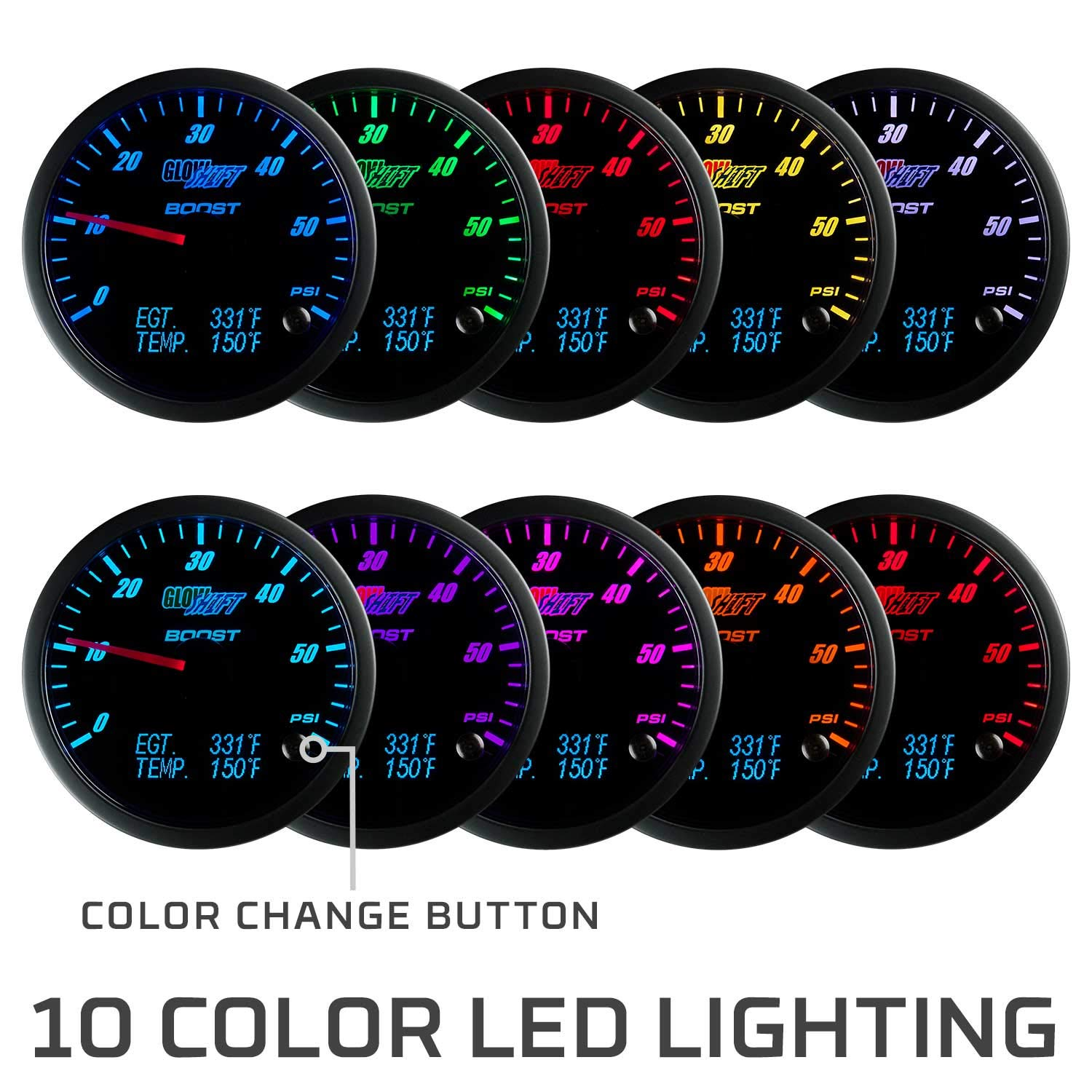 GlowShift 3in1 Analog 1500 F Pyrometer Exhaust Gas Temp EGT Gauge Kit with Digital 60 PSI Boost & 300 F Temperature Readings - 10 Selectable LED Colors - Black Dial - Clear Lens - 2-3/8'' 60mm by GlowShift (Image #6)