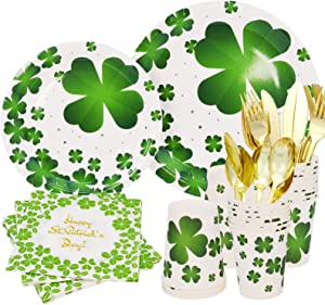 St Patricks Day Plates and Napkins Cups Set for 25 Guest,175pcs St Patricks Day Paper Plates Tableware,Disposable Paper Plates, Napkins,Cups with Plastic Cutlery Set for 25 Guest