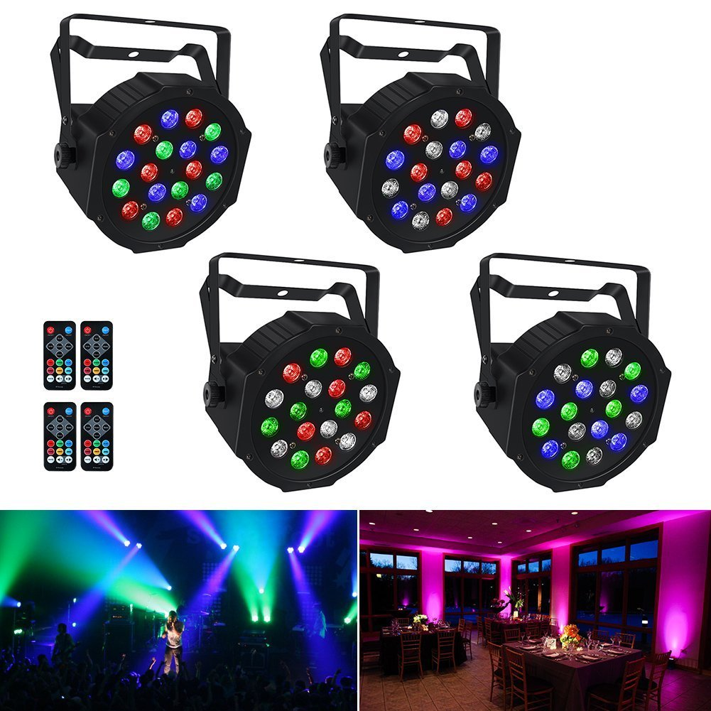 Stage Lights, LaluceNatz 18x3W RGB LED Par Lights for Wedding Church Stage Lighting by Power Linking, IR Remote DMX and Sound Activated (4pcs) BR-VXZ7-3ZT1