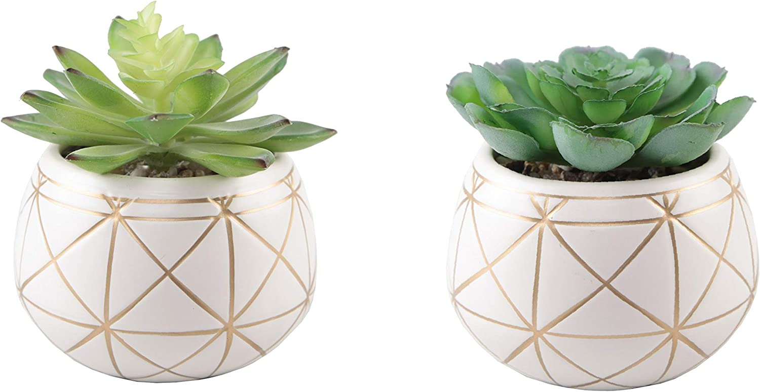 "Flora Bunda Artificial Plants Cactus Set of 2 Mid Century Artificial Succulent in 4"" Geometric Gold Round Ceramic Planter Mid Century for Desk, Office, Living Room, and Home Decoration"