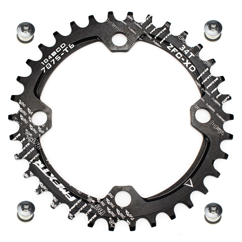 FOMTOR 34T Chainring 104 BCD Narrow Wide Chainring with Four Chainring Bolts for Road Bike, Mountain Bike, BMX MTB Bike (Black) by FOMTOR