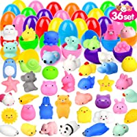 ORWINE 36Pcs Easter Eggs + 36Pcs Mochi Squishy Toy Easter Basket Stuffers Easter Egg Fillers Mini Squishies Party Favors…