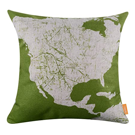 Linkwell 18x18 bright color green north american world map cushion linkwell 18quotx18quot bright color green north american world map cushion gumiabroncs Images