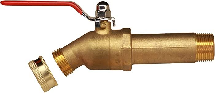 "House Mods HMP011 Brass 3/4"" MIP Water Heater Replacement Drain valve(Full Port, Ball Valve, 3 inch Shank, W/Garden Hose Cap)"