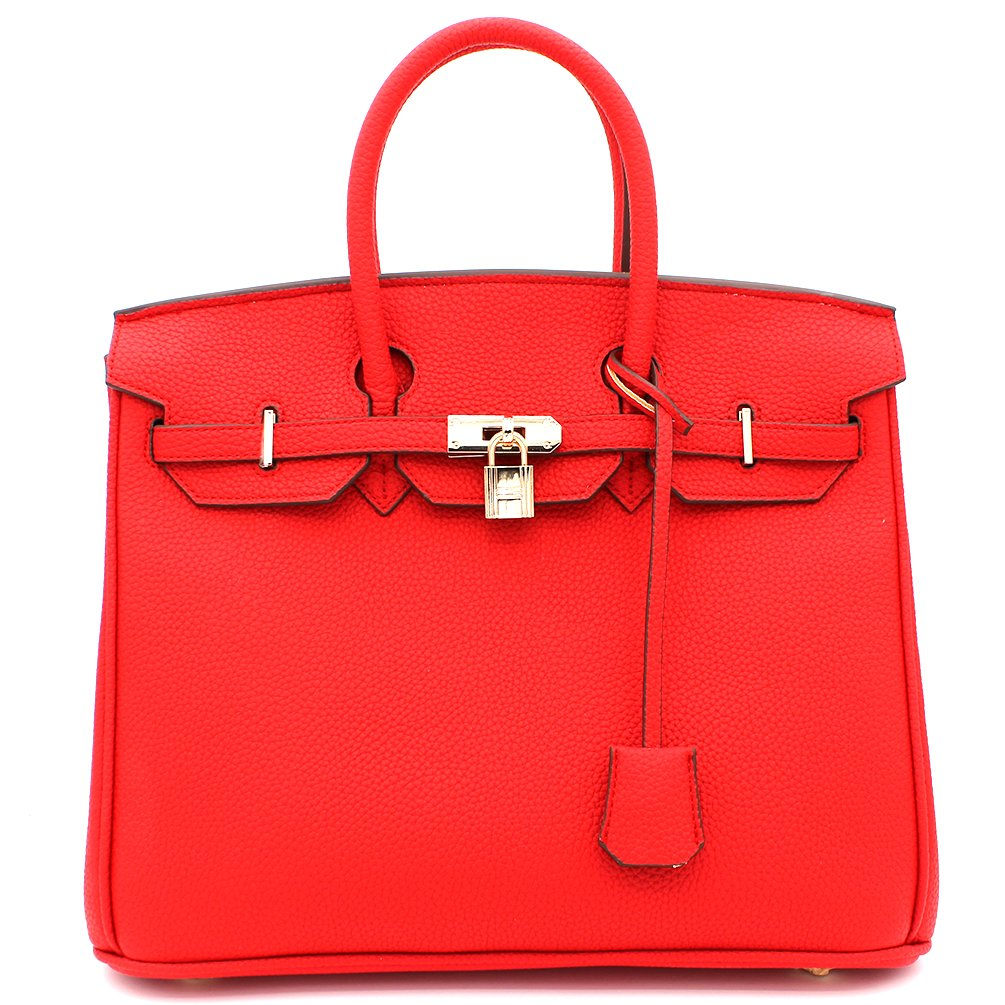 Designer Inspired Fashion Satchel Top-Handle Handbag With Padlock (Red)