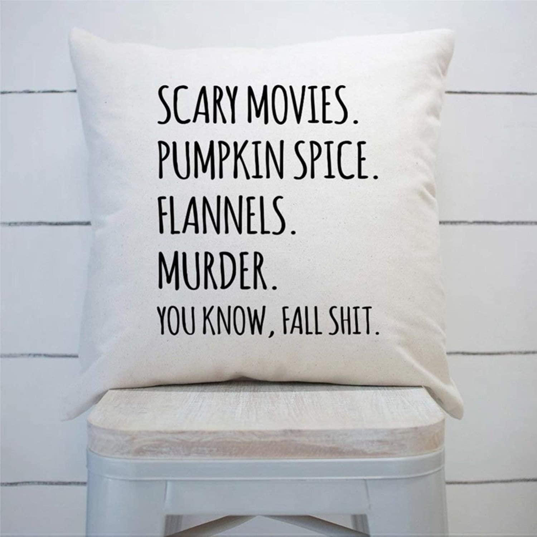 DONL9BAUER Farmhouse Scary Movies - Funda de almohada para decoración de dormitorio, sofá, sala de estar, coche, diseño de calabaza, diseño de calabaza, diseño de flores