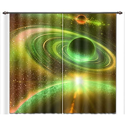 Green Universe Planet Outer Space 3D Blockout Photo Printing Curtain Drap Fabric