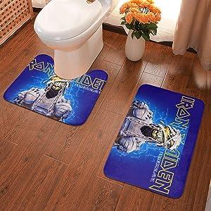 Bathroom Rug Set 2 Piece, U-Shaped Toilet Pedestal Rug- Iron Maiden The Number of The Beast-Iron-Maiden-Eddie Print Flannel Bath Mat Washable Non Slip, for Tub, Shower 23.6