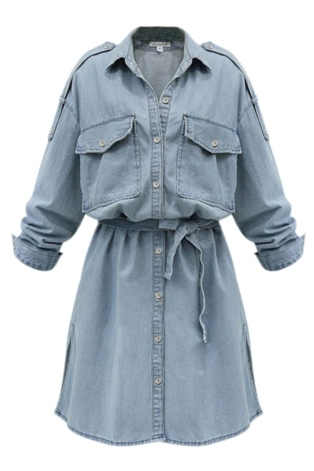 Women Casual Long Sleeve Denim Loose Jeans Tunic Belted Dress Plus Size CANZ1300