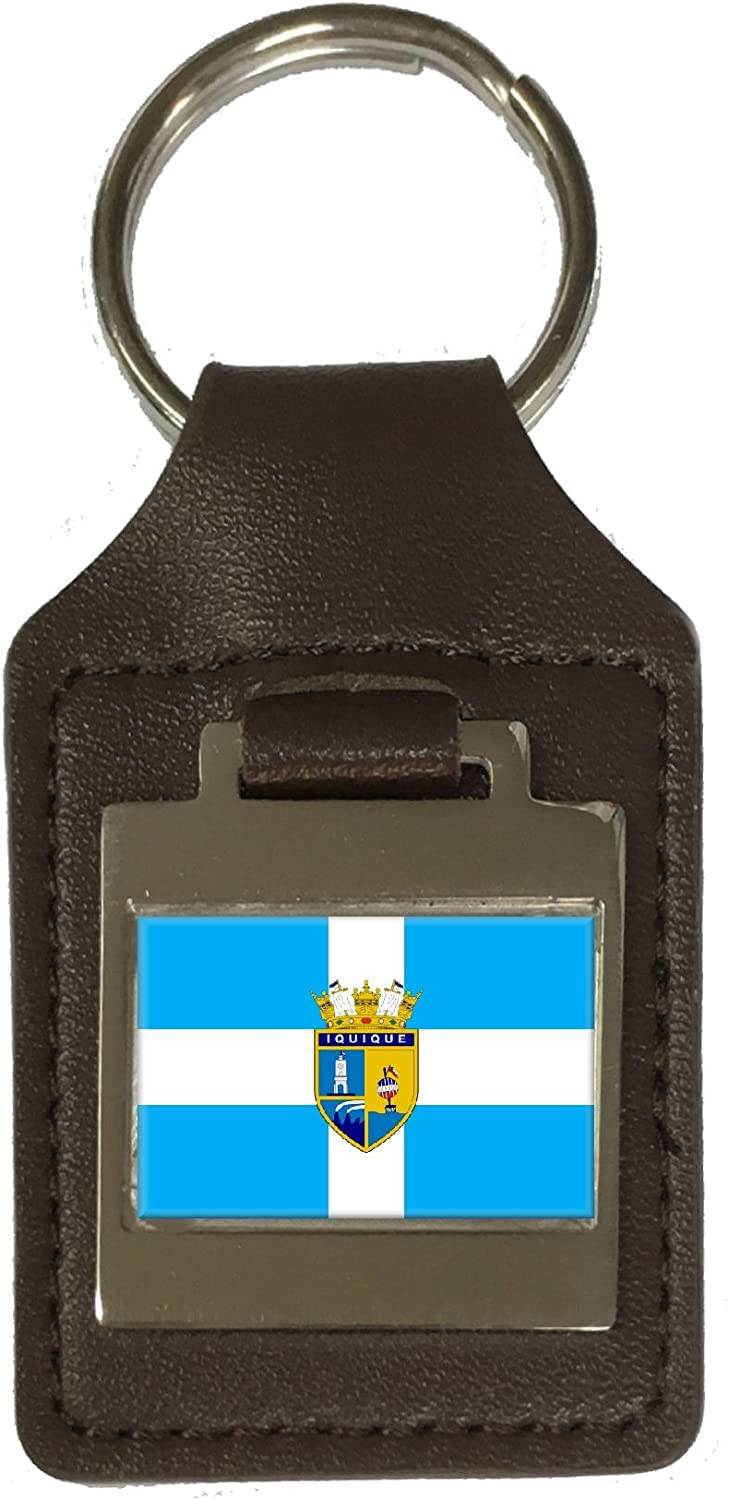 Leather Keyring Engraved Iquique City Chile Flag
