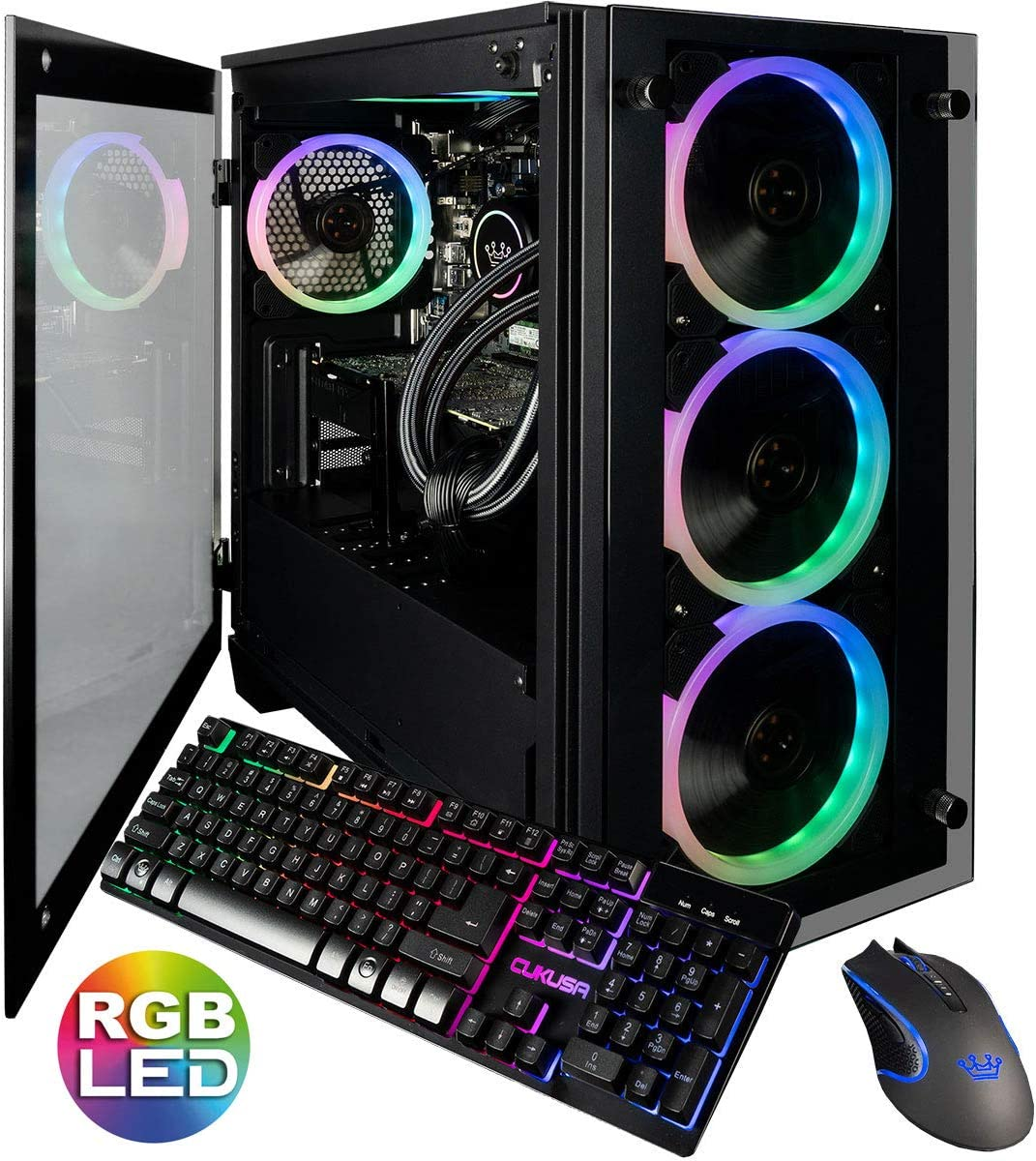 CUK Stratos Micro Gamer PC (Liquid Cooled 5GHz 8 Core Intel Core i9-9900KF, 64GB RAM, 2TB NVMe SSD + 2TB, NVIDIA GeForce RTX 2080 Ti, 750W Gold PSU, Windows 10) Best Tower Desktop Computer for Gaming