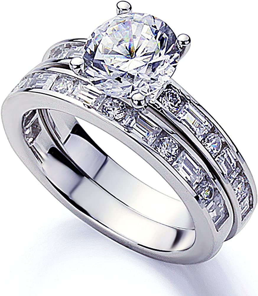 Blongme Wedding Engagement Rings Set for Women 925 Sterling Silver Round CZ Anniversary Band Promise Bridal Size 5-10