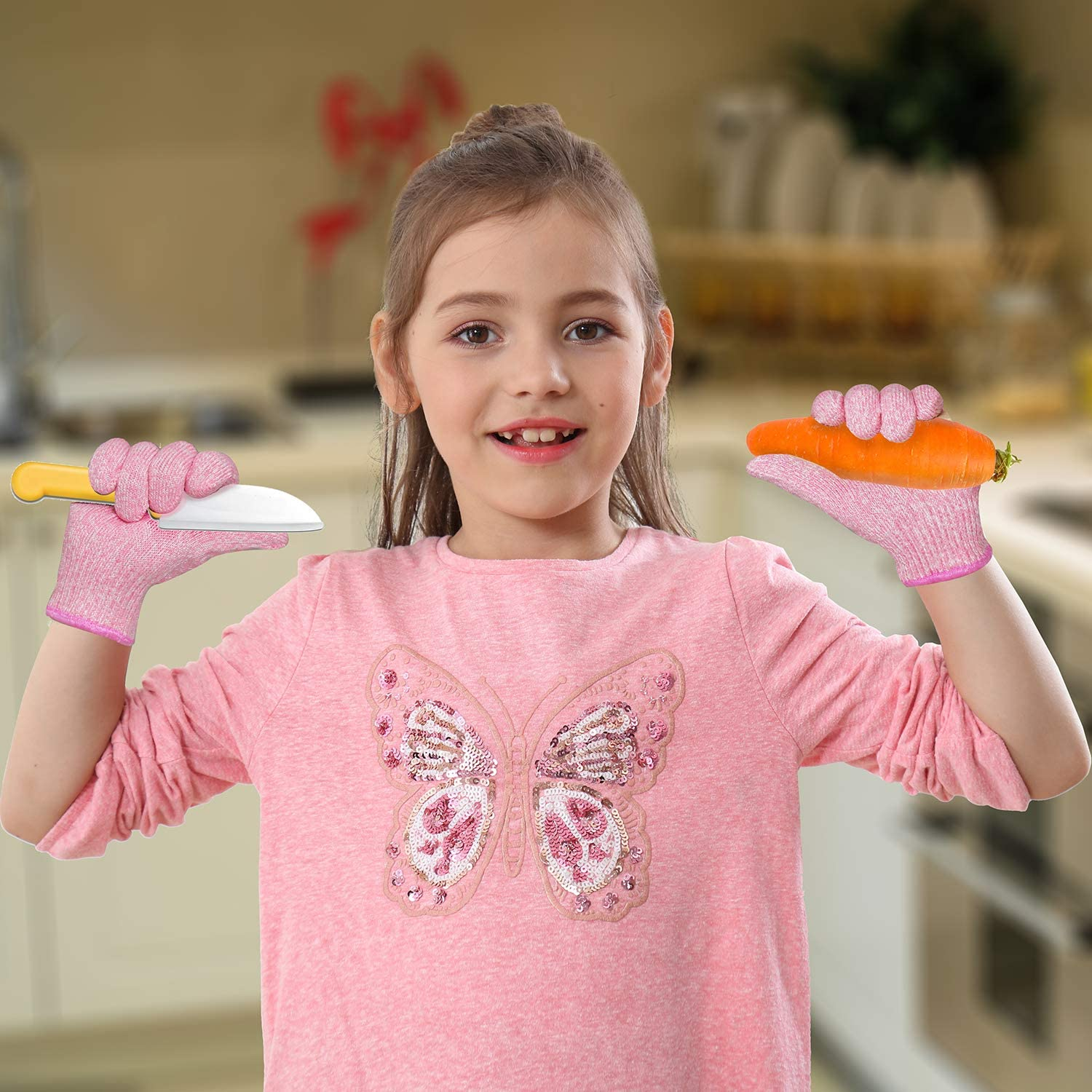 EvridWear Kids Cut Resistant Gloves for Kitchen Use, Oyster Shucking, Scraping, Slicing, Crafts, DIY, Garden and Yard works. Children Food Grade Kevlar Safe Hands from Knife and Tool S (4-7YRS) Pink: Clothing