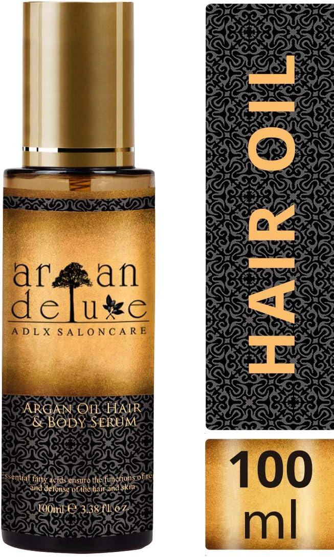 Aceite de Argán Deluxe con calidad de peluquería 100 ml. Aporta hidratación, flexibilidad, brillo y una agradable fragancia para el cabello.