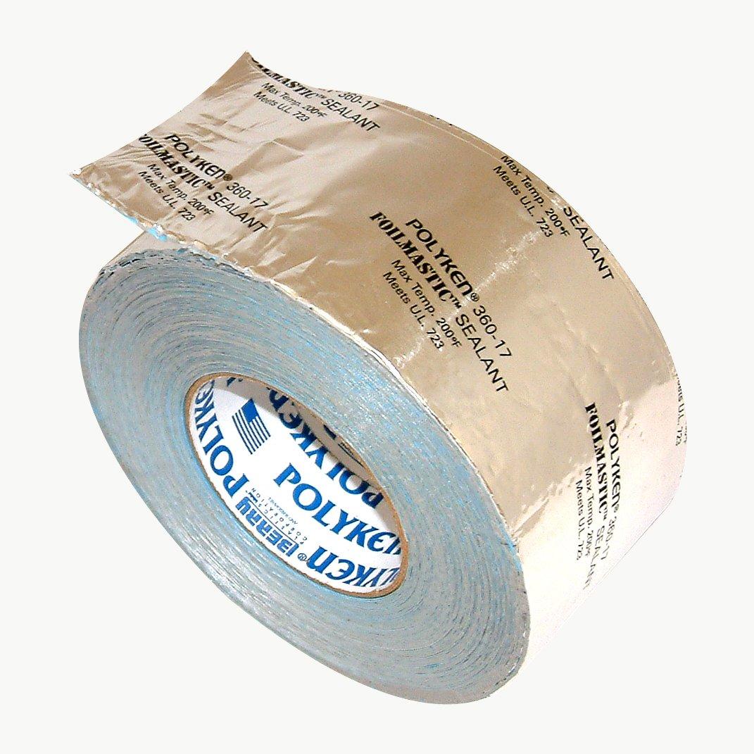 Nashua 360-17/SI3100 Polyken 360-17 Heavy Duty Foil/Butyl Rubber Tape, 17 mil Thick, 100' Length x 3'' Width, Aluminum, Silver