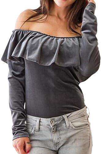 Las Mujeres De Manga Larga Delgada Blusa Hombro Esposado Flare T Shirt