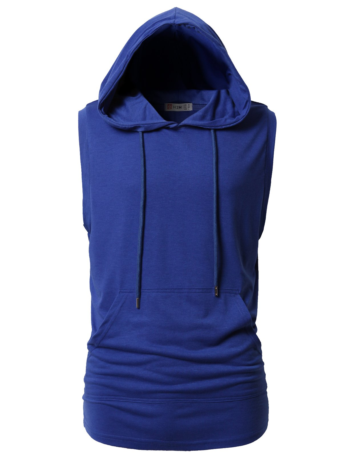 H2H Mens Easy to Wear for Exercise Sleeveless Tank-Top with Side Plackets Blue US M/Asia L (CMTTK028)