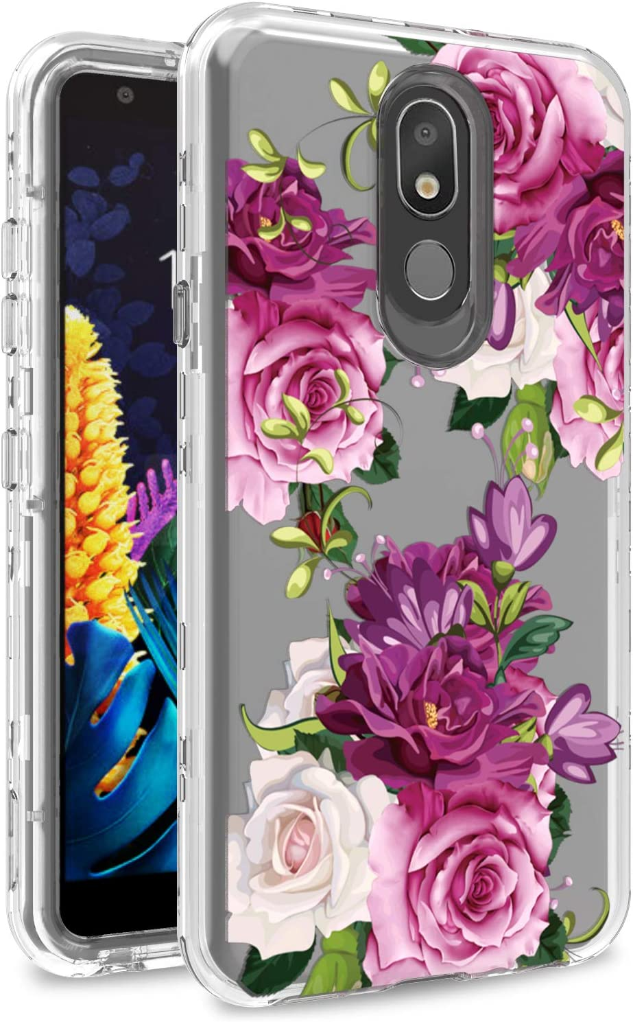 AMPURSQ Case for LG Aristo 4+ Plus/LG Neon Plus/LG Journey LTE L322DL/LG Escape Plus X320/LG Arena 2/LG Tribute Royal/LG K30 2019, TPU Bumper and PC Hard Clear Protective Armor Cover